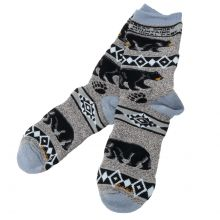 Unisex Grey Black Bear Socks