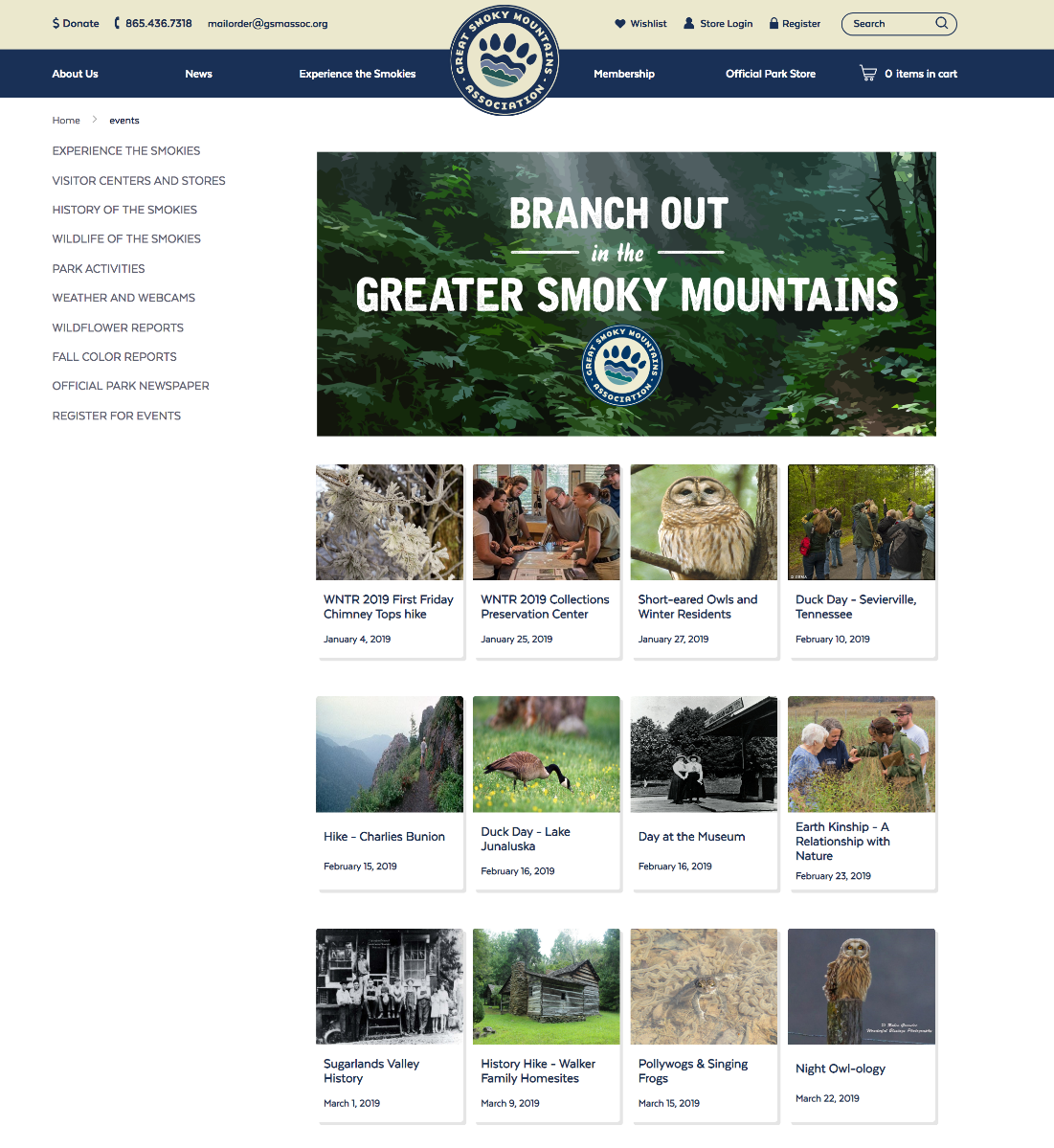 Events page portal sample
